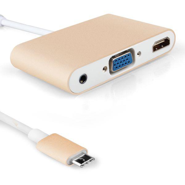 Convertisseur de sortie audio HDMI 3.5MM de type Hub C 3.1 vers VGA HDMI pour MacBook Pro 13 15 Chromebook et tablette Retina 12
