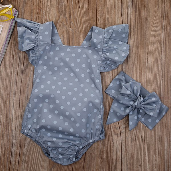 NEW Fashion Summer Bodysuits Toddler Baby Girls Dot Bodysuits Clothes Sunsuit Jumpsuit Outfits Set 0-18M