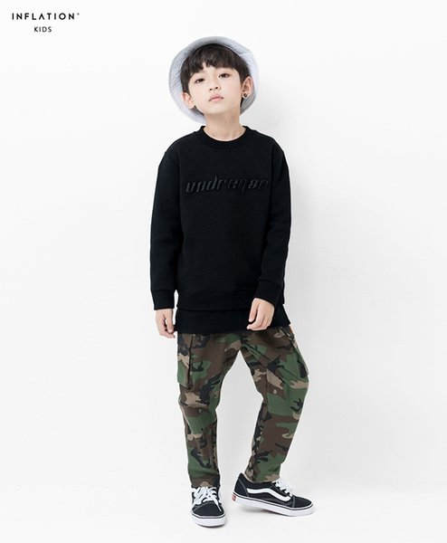 jackets for boy children black Autumn and winter new letters embroidery fake two boys sweater hem stitching big childrens shirt tide card