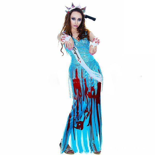 Neue Qualität Halloween Kostüm Anzug sexy weibliche Geist Party Kleidung blau lange Kleid Pailletten Kostüm Horror Teufel spielen Anzug