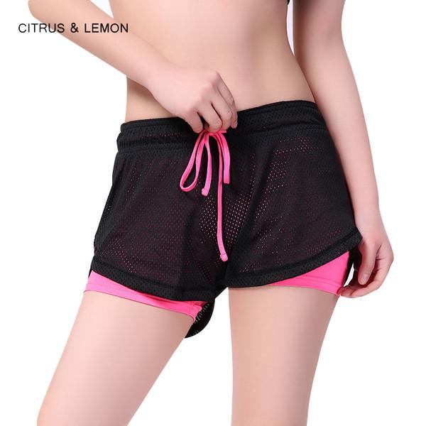 CITRUS&LEMON sport shorts pants women Fake two-piece summer running shorts 2017 workout fitness short leggings pantalones mujer