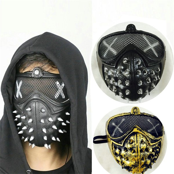 Watch Dogs 2 Masks Steampunk Devil God of Death Cosplay Game Guard Dog2 Rivet Mask PVC Halloween Mask 2pcs Free Shipping