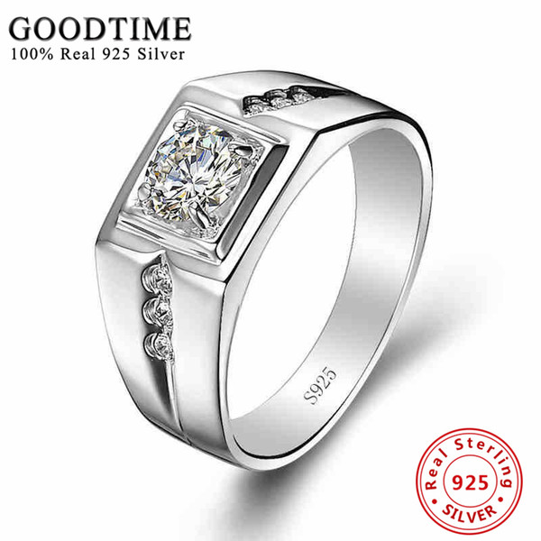 Sterling Silver Rings Men 925 Sterling Silver Jewelry Solid Silver 925 Zirconia Ring For Men Engagement Ring Classic GTR036 S18101608