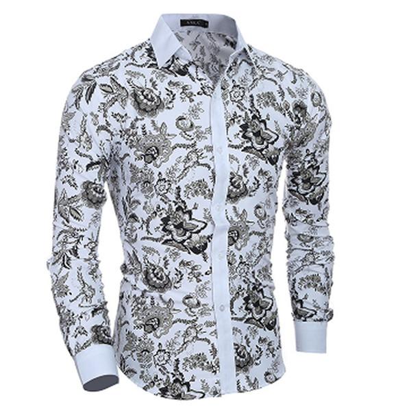 2018 Весна цветочный принт мужчины рубашки с длинным рукавом мужская повседневная рубашка тонкий мужчины цветок печати Dress рубашки Национальный ветер рубашка