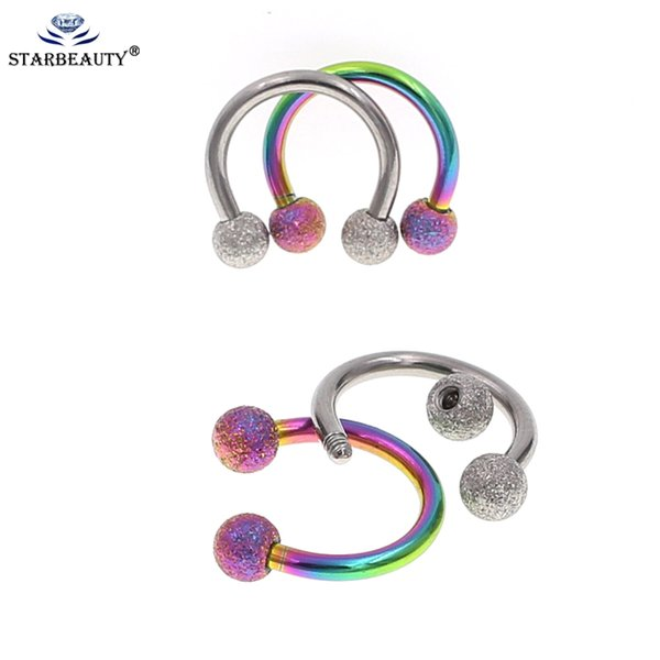 2019 Mix Color New Arrival Rambow Septum Horseshoe Cartilage Earrings 16G  Gauge 3mm 316L Surgical Steel Piercing Horseshoe Circular From Daliangzhou,
