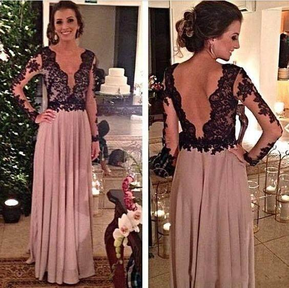 2018 Deep V-Neck Sexy Prom Dresses A-Line Characteristic Design With Lace Pattern Floor-Length Charming Long Sleeve Party Evening Dresses