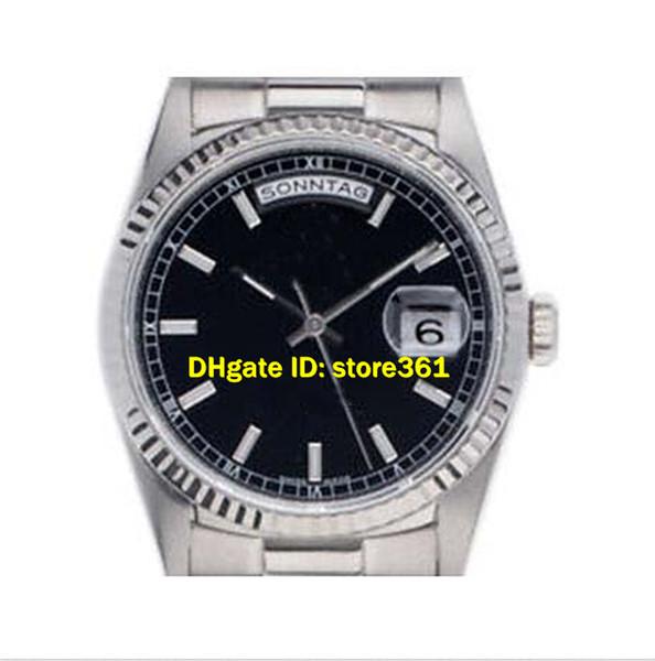 Envío gratis Nuevo día sin fecha Presidente 185k negro Reloj de oro con esfera plateada 18239 Reloj deportivo de pulsera automático 41mm Mens Wa