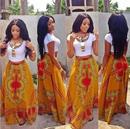 Two Pieces Summer Bohemian Dresses 2018 New White T Shirt and Printing Long Skirt Suits A line Floor Length Casual Women Dress Cheap