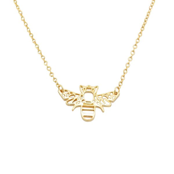 Cute Animal Origami Rose Gold Silver Bee Pendant Necklace Honey Bee Necklace Collar Collier Accessories Insect Jewelry Gifts