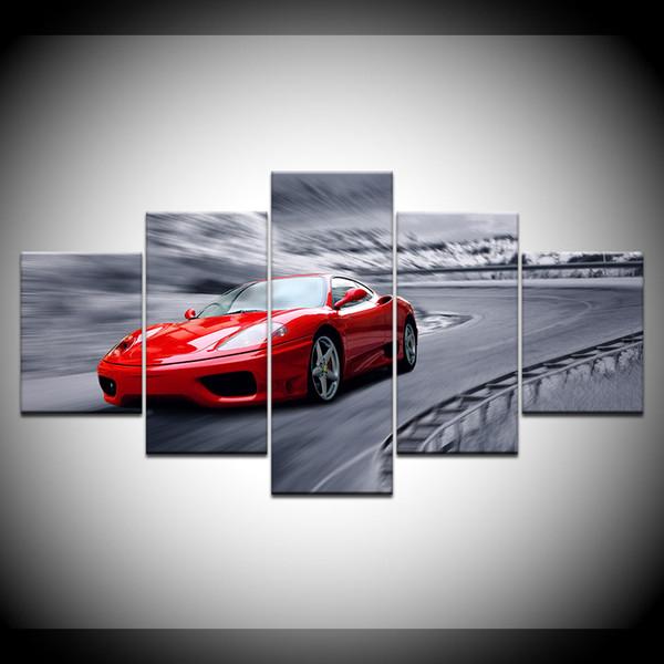 5 Stück Leinwand Gemälde für Wohnzimmer Wohnkultur Moderne rote Sportwagen Poster HD Drucke Wand Kunst Bild