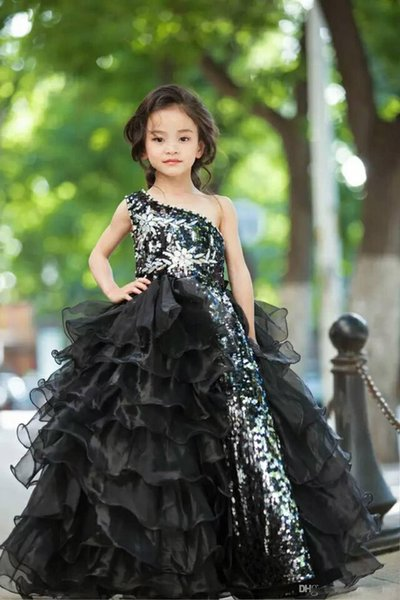 Luxuery One Shoulder Squined Beaded Girls Pageant Dresses With Ball Gown Floor Length Fuffles Cute Pageant Prom Dresses Custom Made