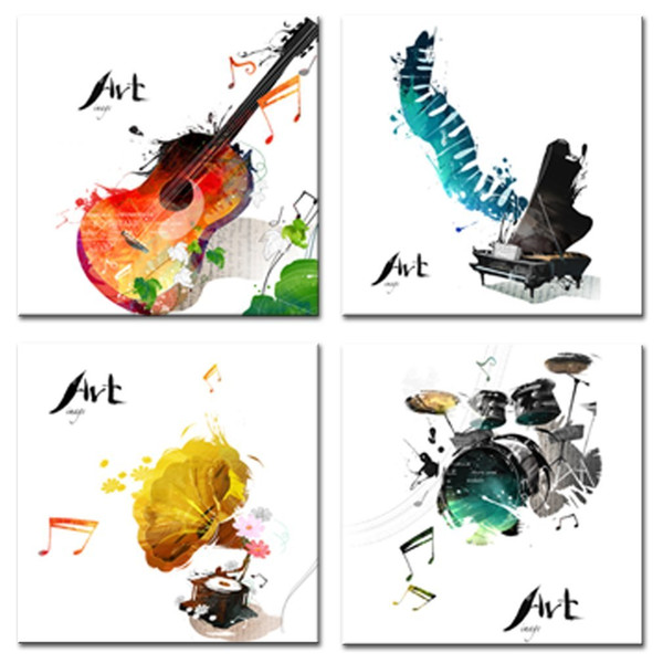 4 Pieces Canvas Painting Guitar Piano phonograph and Drum Set Four Kinds of Classical Music Instruments Print Home Decor Wooden Framed Gifts