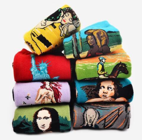 Women Sock Van Gogh Retro Mona Lisa Abstract Famous Painting Oil Painting Art Retro Series Socks 30 design KKA5825
