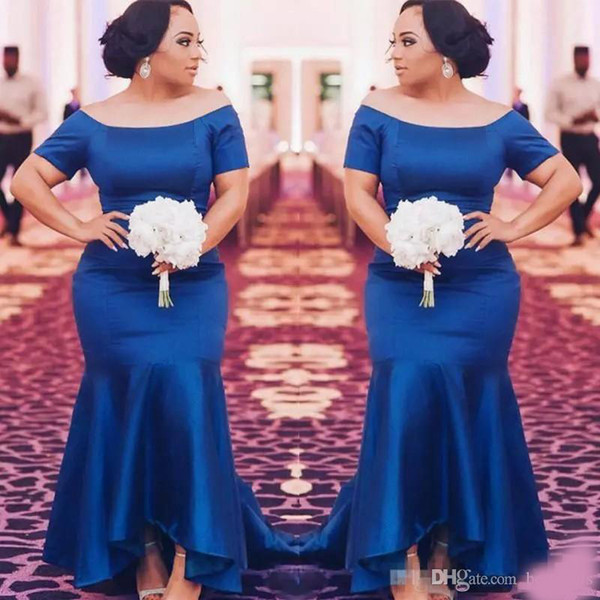 African Royal Blue Plus Size Bridesmaid Dresses 2018 Satin Short Sleeves Mermaid Maid Of Honor Gowns High Low Wedding Guest Prom Party Dress