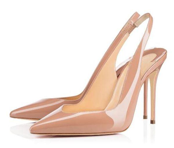 dae22bc1416c Red Bottom Ladies Womens Handmade Fashion Fliuve Style 100MM Slingback  Pointy High Heel Party Pumps Shoes Black K434