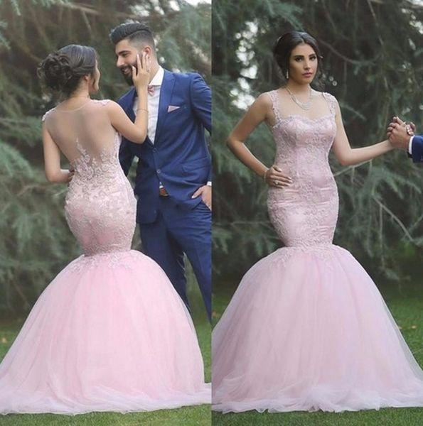 Sereia Prom Vestido Elegante Querida Decalques Decorado Lace Evening Vestidos Rosa Prom Vestido Transparente Halter abiye uzun tarz elbiseler
