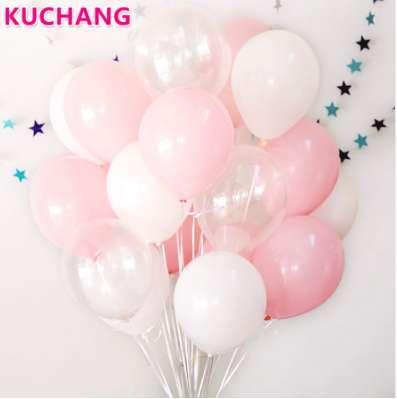 30 Unids / lote 2.3g Rosa Claro Blanco 2.8g Globos Transparentes Látex Flotador de Helio Fiesta de Cumpleaños Fiesta de Bienvenida al Bebé Boda Decro Bolas