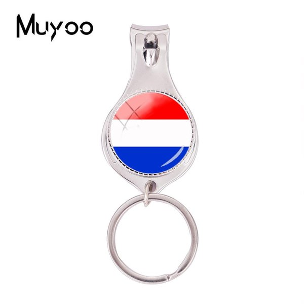 2018 Fashion Flag Of Netherlands Multifunctional Keychain Glass Photo Nail Clipper Keyring Silver Jewelry Nail Clippers