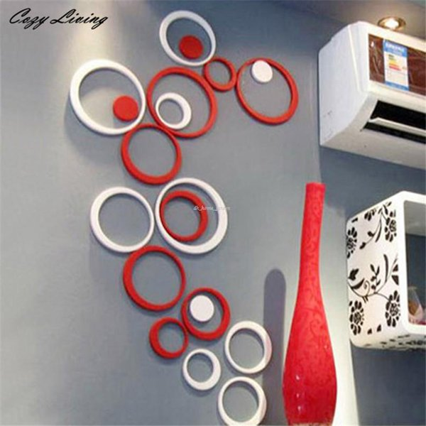 Wall Stickers Indoors Decoration Circles Creative Stereo Removable 3d Diy Wall Sticker Geometric Wallpaper D8 Retro Wall Stickers Reusable Wall Decals