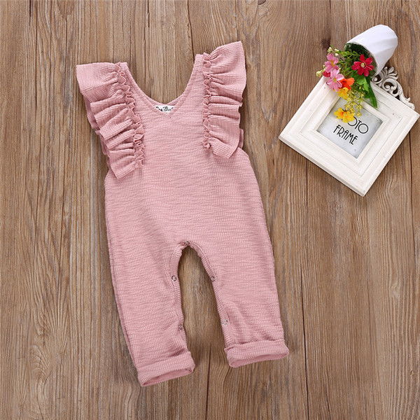 top popular 2018 Boutique Baby Clothes Kids Baby Girls Ruffles Jumpsuit Overalls Little Girls Clothes One-pieces Outfit Infant Toddler Girls Clothing 2020