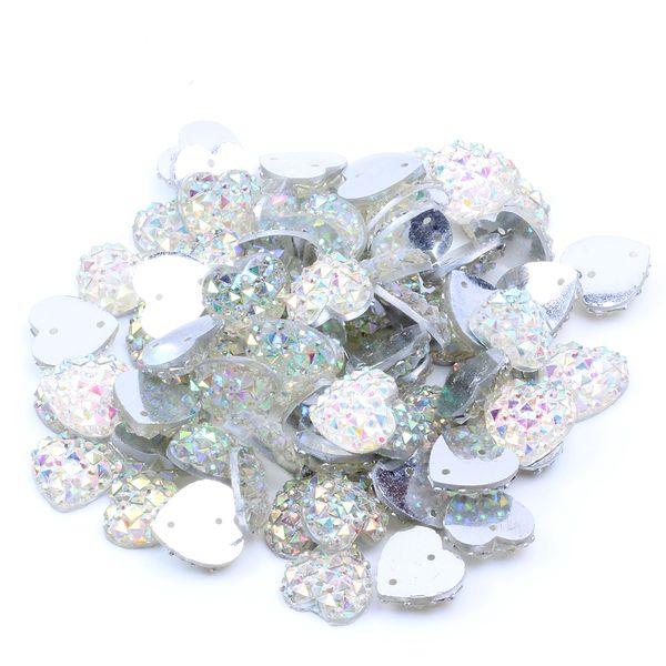 12mm 200pcs Heart Shape AB Colors Flatback Resin Rhinestones Gems With 2 Holes Sew On DIY Scrapbooking Craft Jewelry Decoration