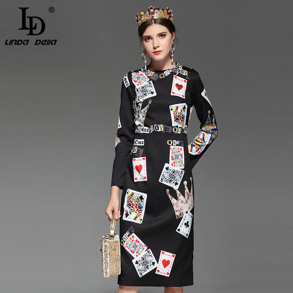 LD LINDA DELLA Fashion Designer Runway Dress Women's Long Sleeve Elegant office Playing cards Print Beading Black Vintage Dress