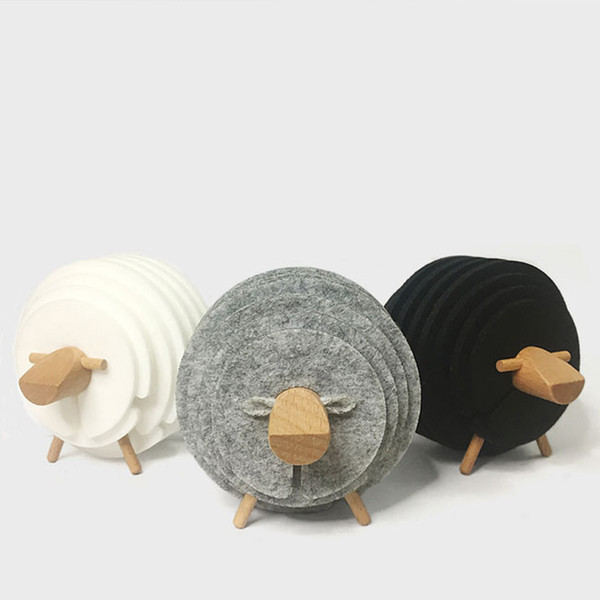 Handmade 14 Pcs Coasters Set with Sheep Shaped Holder, Wool Felt Round Cup Mat for Drink, Coffee & Tea