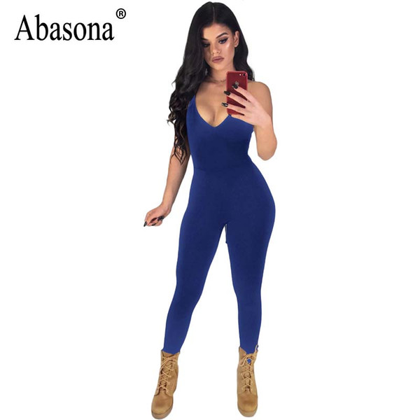 Abasona Women Jumpsuits Rompers Summer Skinny Pants Female Overalls Backless Lace Up Women Bandage Jumpsuit Party Club Romper