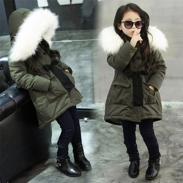 Kızların yeşil pamuk dolgulu giysiler kış büyük yün yaka ve kazık kalınlaşma çocuk ceket giymek
