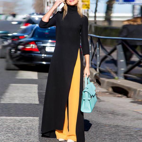Mode féminine, plus la taille maxi robe asymétrique style occidental à col roulé pull stretch noir à tricoter oversize robe longue D18102901