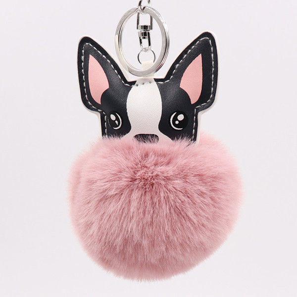 Women Fluffy French Bulldog Keychain Animal Pompom Key Holder Plush Car Key Ring Faux Rabbit Fur Ball Handbag Charm Accessories