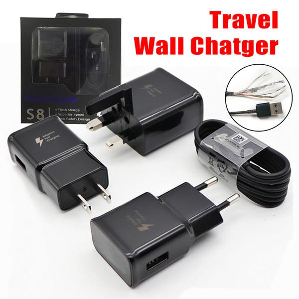 2 en 1 adaptador de cargador de pared Cargadores de viaje de carga de carga rápida + 1.2M Cable de datos micro USB para Samsung Galaxy S7 S8 con paquete al por menor