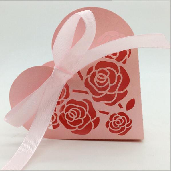 Papier perlé Chocolat Boîte-cadeau Fleur Laser Cut Coeur Forme Mutil Couleur avec Ruban Pour Baby Shower Favors De Mariage Emballage Boîtes
