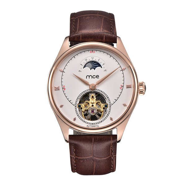 High quality MCE men watch moon phase stainless steel rose gold case automatic wristwatch