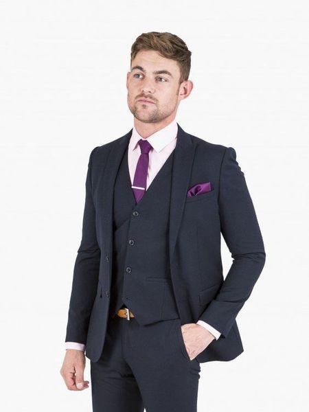 2018 Latest Coat Pant Designs navy blue men suit men's classic suit for wedding formal business tailor made blazer 3 pieces