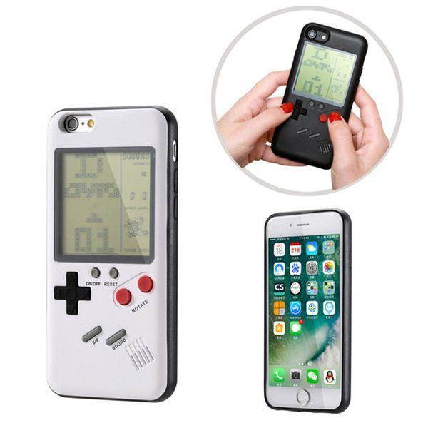 Casos de telefone tetris gameboy para iphone 7 8 plus 6 6 S X PC Duro Macio TPU Pode Jogar Blokus Game Console Capa