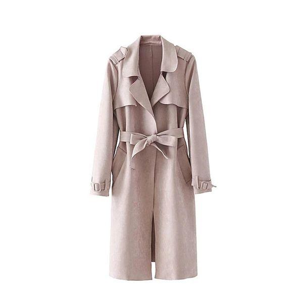 2017 Women Autumn Winter Trench Coat Suede Turn Down Collar With Belt Overcoat Female Vintage Long Trench Coat Casaco Feminino