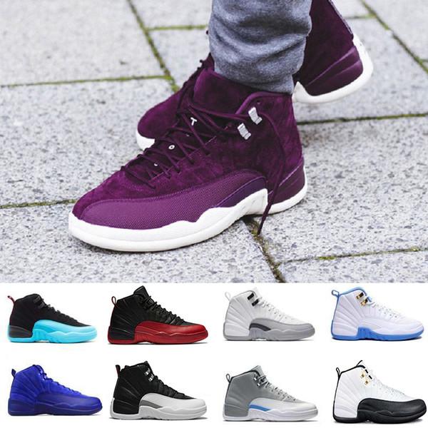 Новый 12 Бордо гамма синий шерсть баскетбольная обувь мужчины спортивная обувь тр