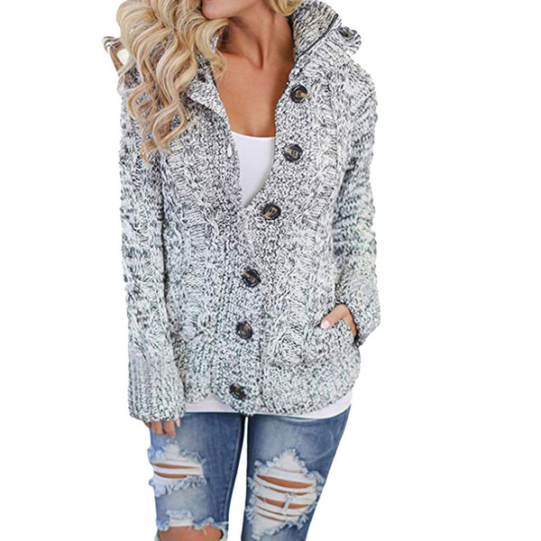 c8e4f0d695117 Winter Warm Soft Thick Womens Hooded Cable Knit Button Down Outwear Sweater  Cardigans Coats with Pocket