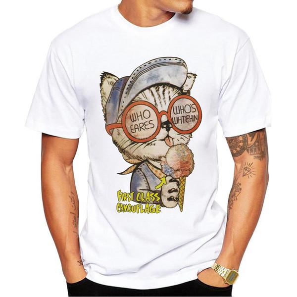 2018New Cute big cat Print T-shirt Men's Fashion T-shirt Tops Clothes Men's Accessories