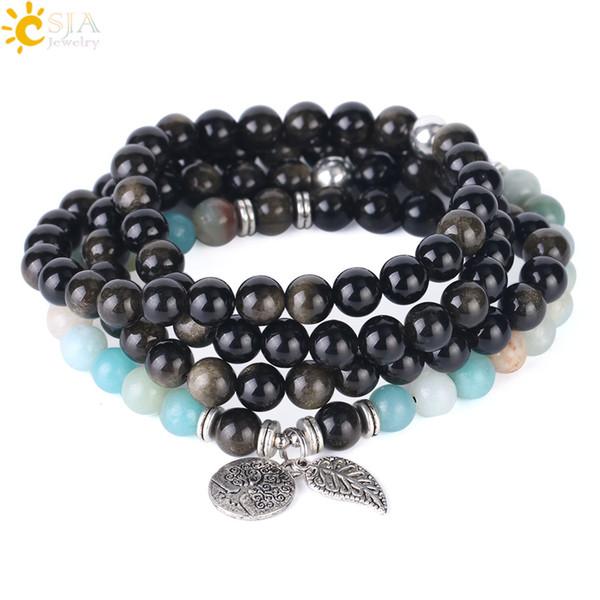 CSJA Gold Obsidian Beaded Bracelet Amazonite Multiple Layer Natural Stone Gem Jewellery 108 Mala Beads Strand Bracelets Fast Shipping F405