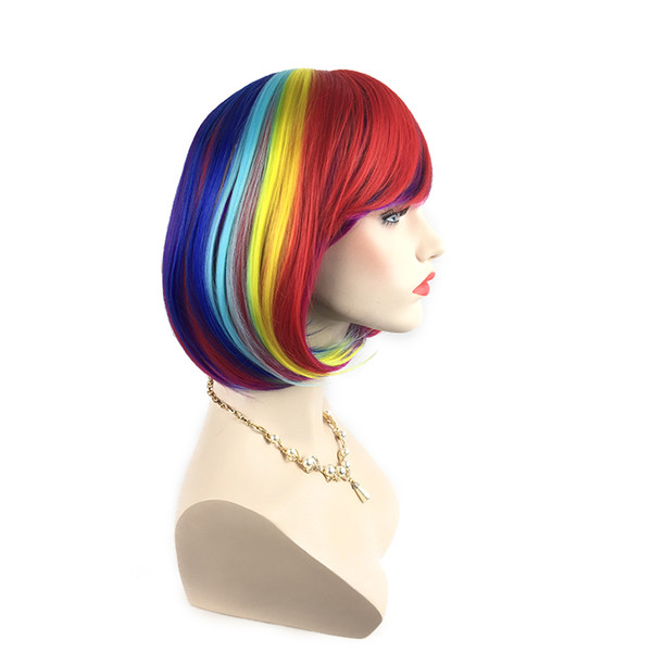 Factory direct high quality Colorful Rainbow Synthetic Bob Wig Heat Resistant Straight Hair Middle Part Cosplay Party Wigs 12 Inches