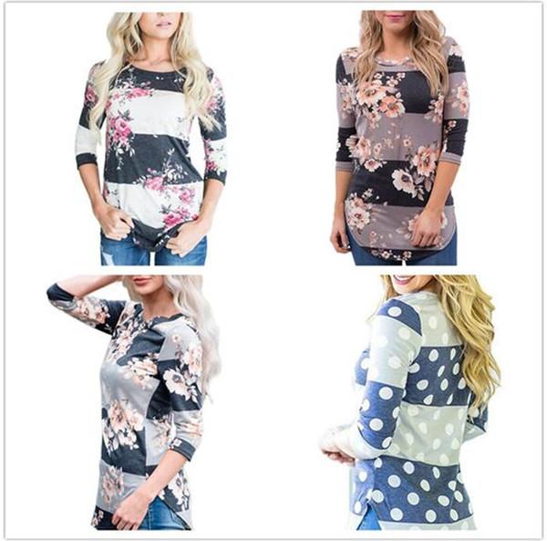 T-shirt con stampa floreale a fiori 100 pezzi con camicie a righe e pullover casual con camicetta a collo alto autunno donna M277