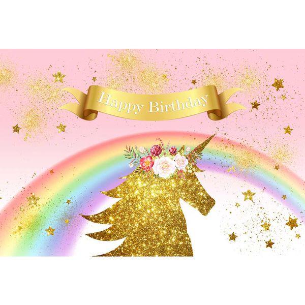 Acheter Joyeux Anniversaire Or Licorne Photographie Toile De Fond Rose Imprimé Fleurs étoiles Arc En Ciel Bébé Fille Enfants Aquarelle Fête Photo Fond