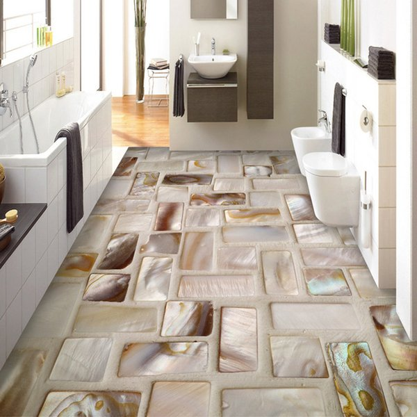 Custom Photo Wallpaper 3D Tiles Mosaic Floor Art Mural PVC Waterproof Self-Adhesive Bathroom Restaurant Kitchen Floor Sticker 3D