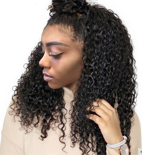 Natural Looking Kinky curly Full Lace Wigs With Hairline Deep Wave Glueless Brazilian Virgin Human Hair Lace Front Wigs With Bleached knots