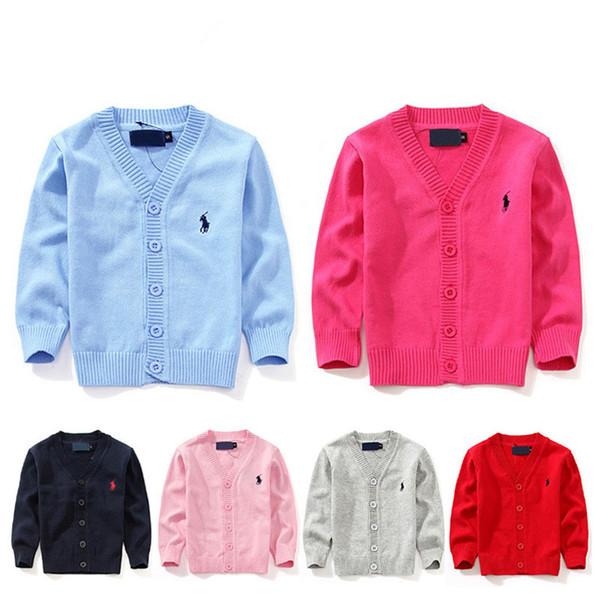 2019 Fashion New Kids Pullover Herbst Kinder Polo Cardigan Mantel Baby Jungen Mädchen Einreiher Jacke Pullover Oberbekleidung 871-d