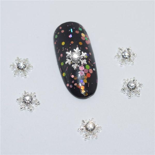 10pcs Maniküre Schneeflocke Rhinestone 3D Nail Art Dekoration, Legierungs-Nagel-Charme, Nägel Glitter Rhinestones Nail Supplies