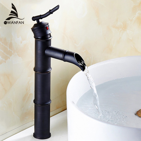 Basin Faucets Black Brass Bamboo High Arch Bathroom Sink Waterfall Faucet 1 Lever Oil Rubbed Bronze Hot Cold Mixer Taps SY-028R