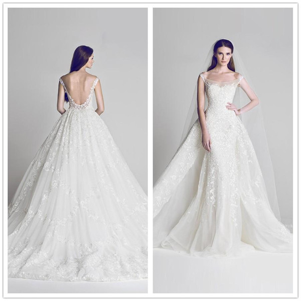 Vestido De Noiva Para Dia 2018 New Designer Vestido Sereia Overskirts Vestidos De Casamento Lantejoulas Lace Appliqued Backless Praia Vestidos De
